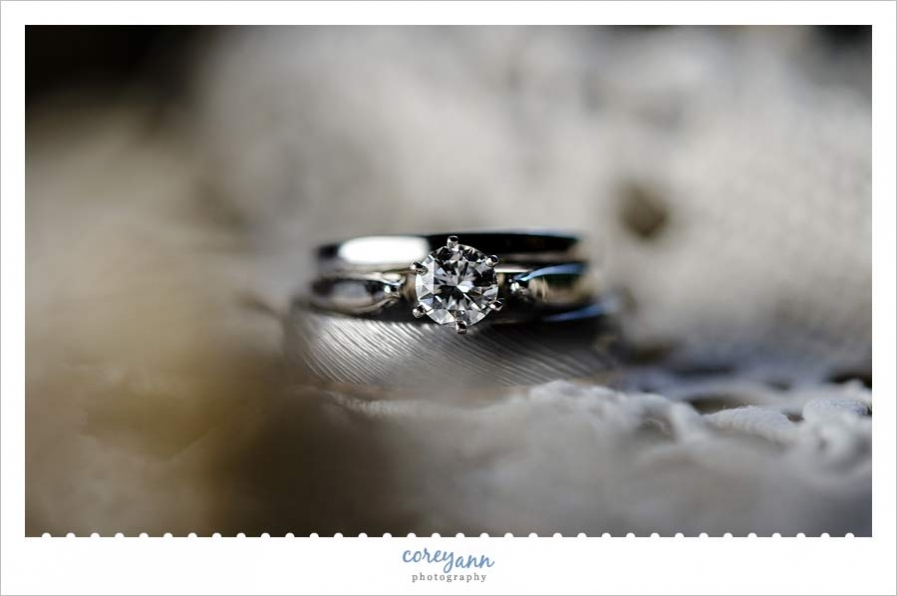 Wedding ring detail photo with lace