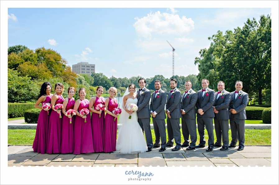 Raspberry and grey wedding bridal party in Cleveland ohio