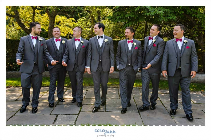 Groom and Groomsman wedding portrait at Cleveland Museum of Art