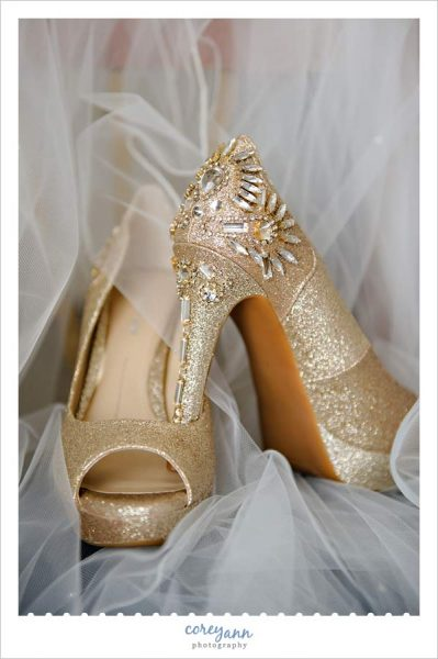 Gold Glitter Heels with Rhinestone Detail on back