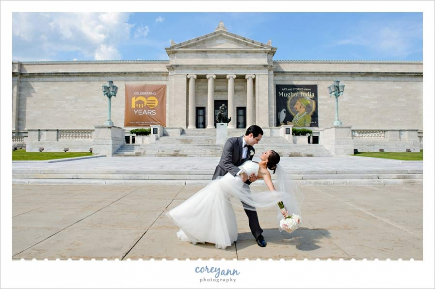 Bride and Groom dip in front of Cleveland Museum of Art