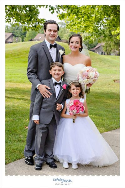 Bride and Groom with Ring Bearer and Flower Girl at Weymouth Country Club