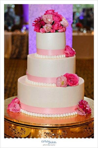 White and Pink Wedding Cake from Michael Angelo