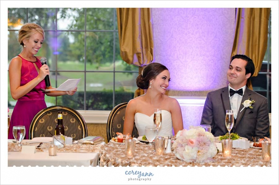 Maid of Honor Toast during Wedding Reception
