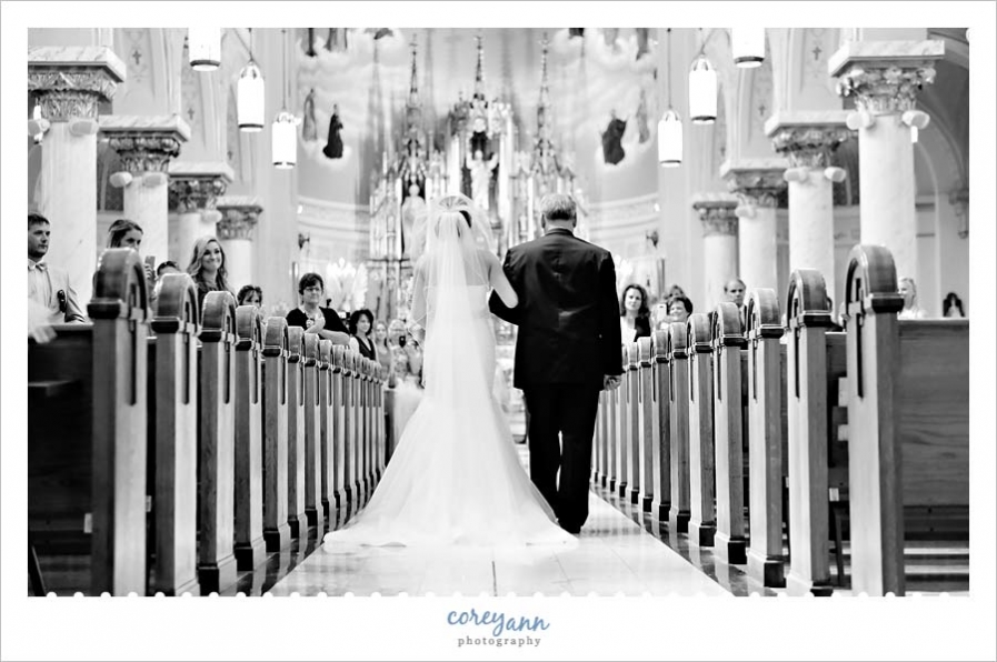 Bride and Father entering wedding ceremony at St John Cantius in Tremont