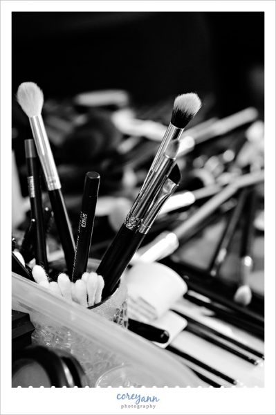 makeup brushes in black and white