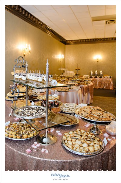 italian cookie table at wedding in akron ohio