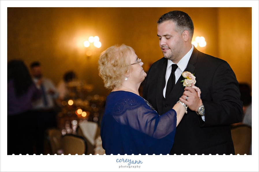 Mother Son Dance at Wedding reception in Akron Ohio