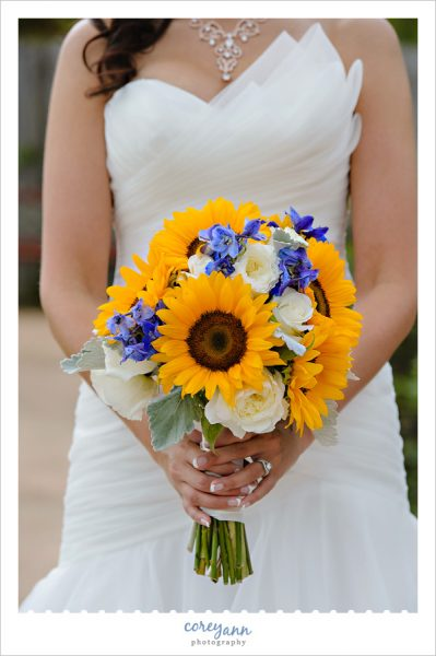 Sunflower and white and blue bridal bouquet