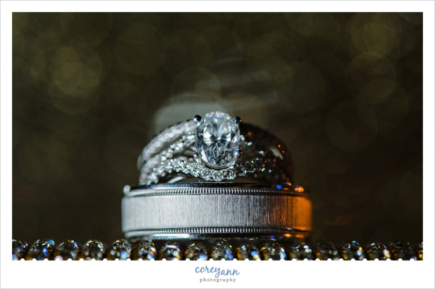 Wedding Rings on gold purse