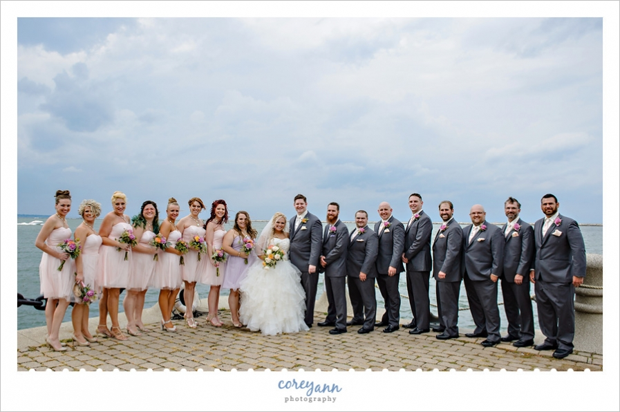 Bridal party after wedding in front of Lake Erie in Cleveland
