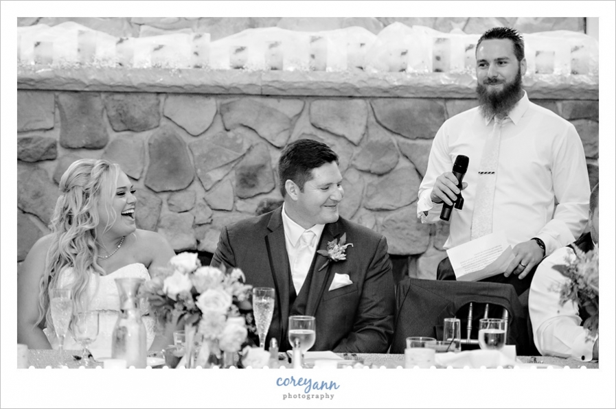 toasts during september wedding reception at springvale ballroom