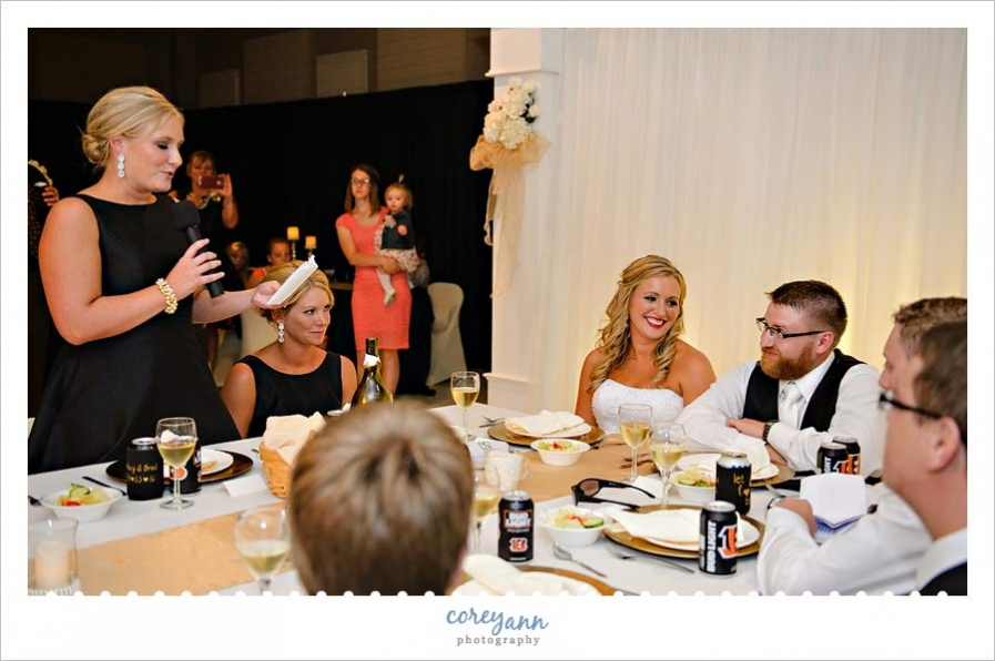 Wedding toasts during reception in St Henry Ohio