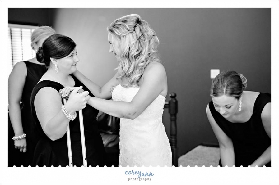 Bride getting ready for wedding in St Henry Ohio