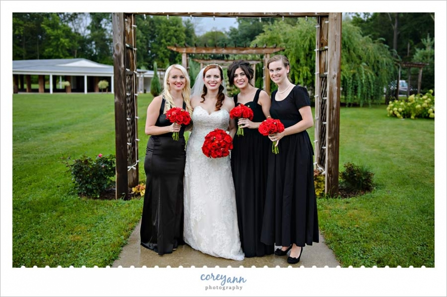 Bride and Bridesmaids in black and red