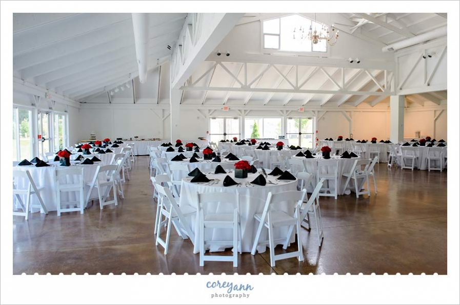 Black and Red Wedding Reception at Waters Edge Vineyard