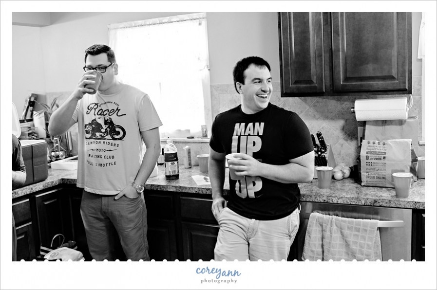 groom and groomsmen hanging out before ceremony