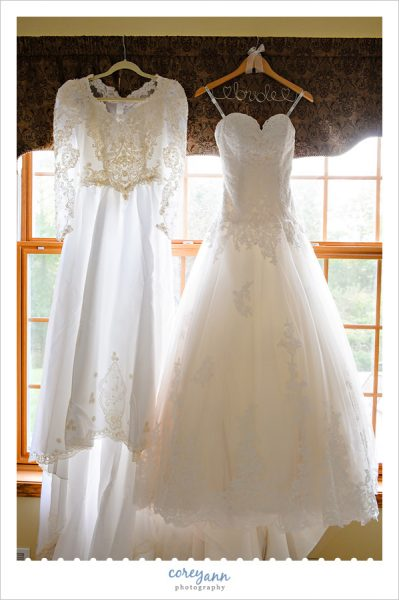 Bride and Mother Wedding Dresses Hanging Side by Side