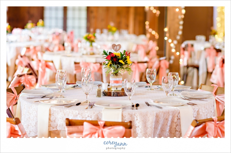 columbia ballroom wedding reception in coral and yellow