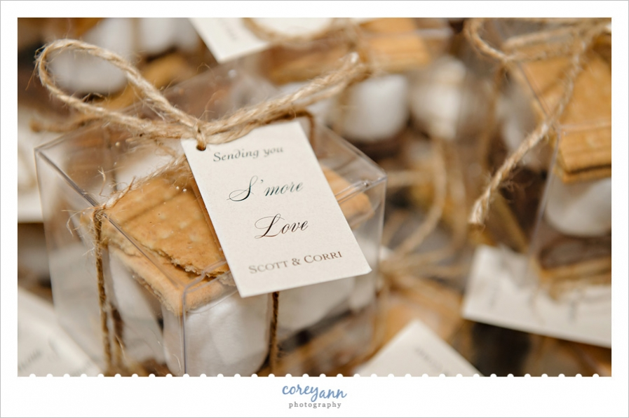 boxed smores favors for wedding reception at columbia station