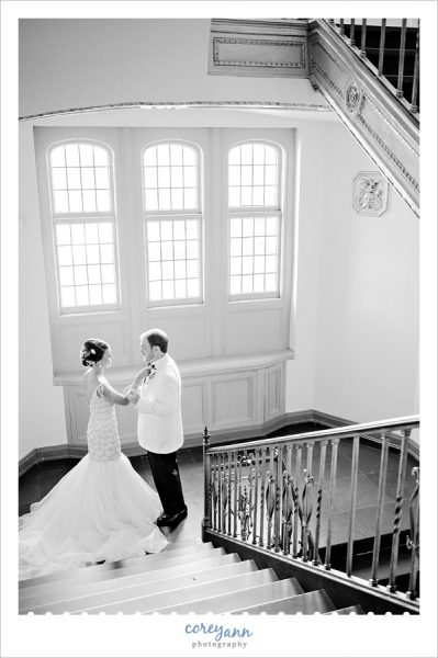 First Look on stairwell at the Tudor Arms Hotel