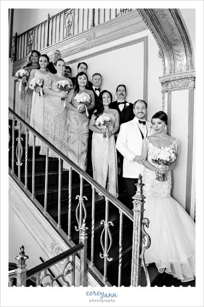 Bridal Party on the Stairs at the Tudor Arms Hotel