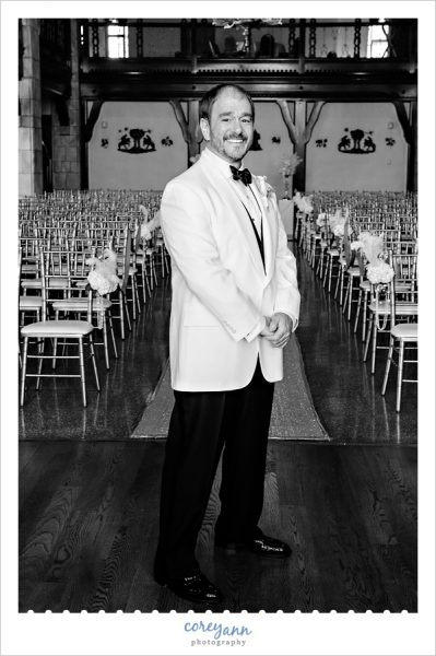 Groom in a White Jacket Tux