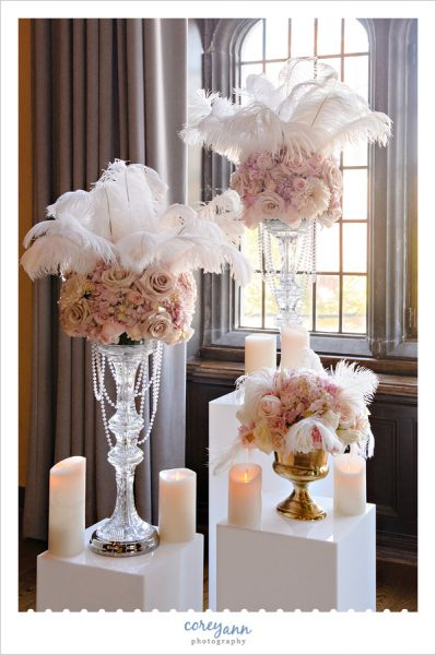 Ostrich Feather and Rose Centerpieces