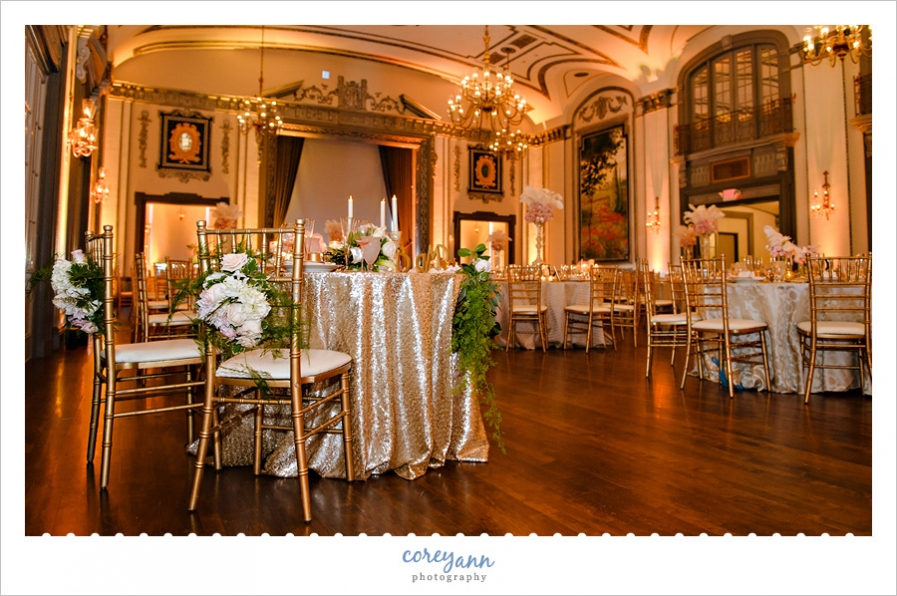 Pink and Gold Wedding Reception at Tudor Arms