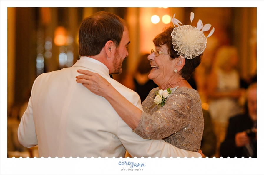 Mother and Son Dance During Wedding Reception at Tudor Arms Hotel