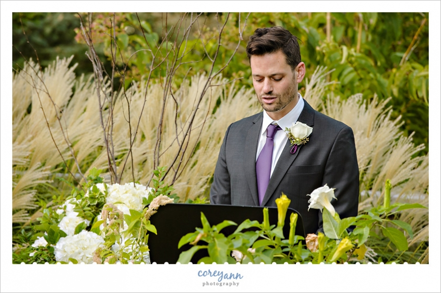 reading during wedding ceremony at cleveland botanical gardens