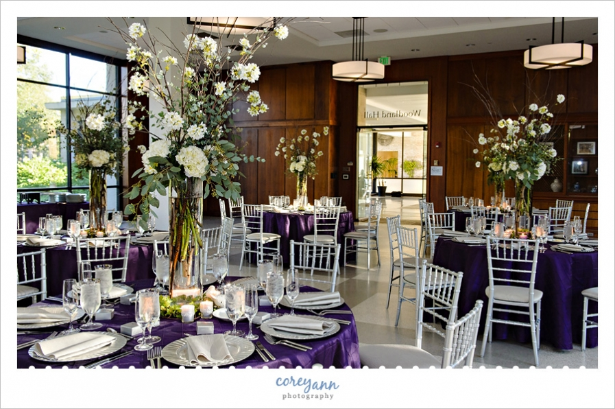 purple and silver reception decor at woodland hall