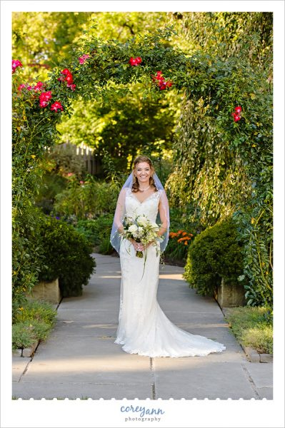 bride posing beneath rose arbor at the cleveland botanical gardens