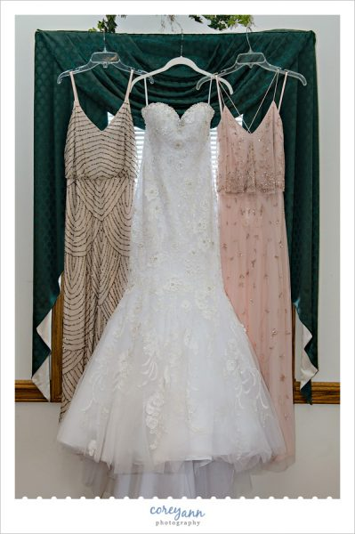 MoriLlee wedding dress hanging in Louisville Ohio
