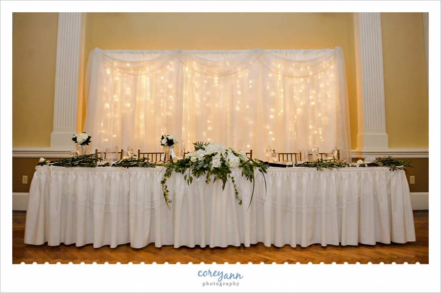 Head table at wedding reception at the Onesto Event Center