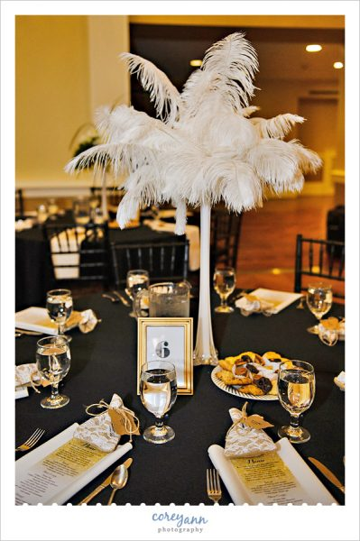 Gold ostrich feather wedding centerpieces