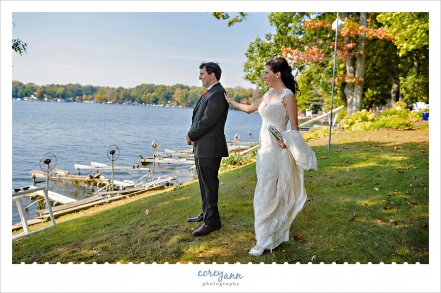 First look before wedding ceremony at Turkeyfoot Island Club