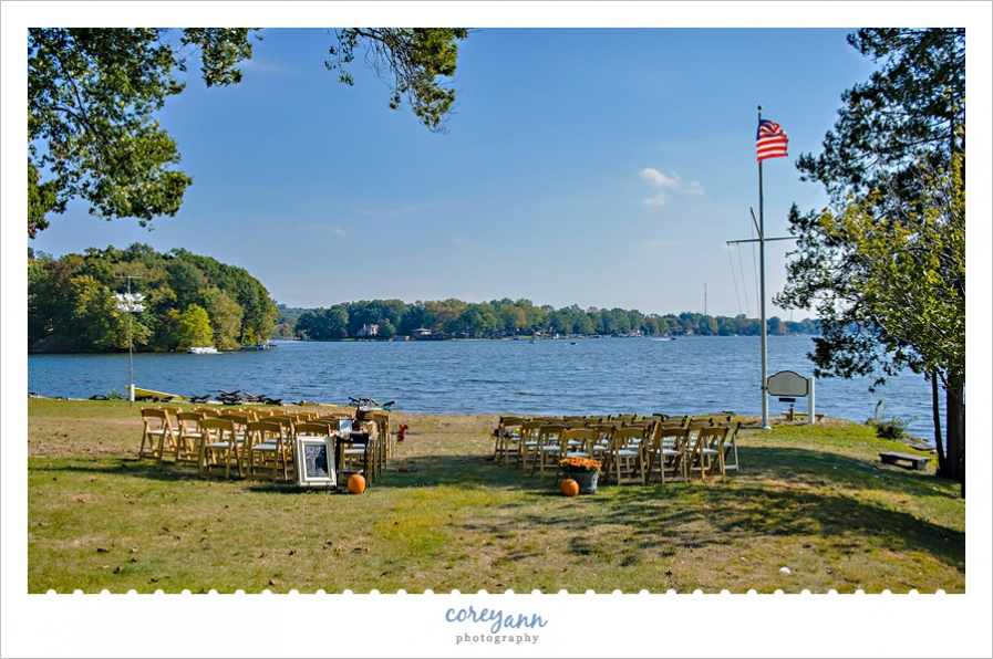 Wedding ceremony on the shores of Turkeyfoot Lake
