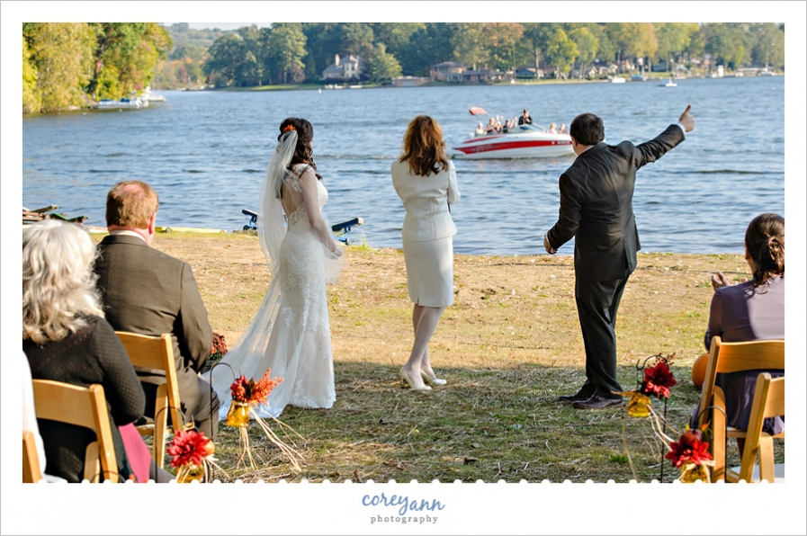Outdoor wedding ceremony on Turkeyfoot Lake in October