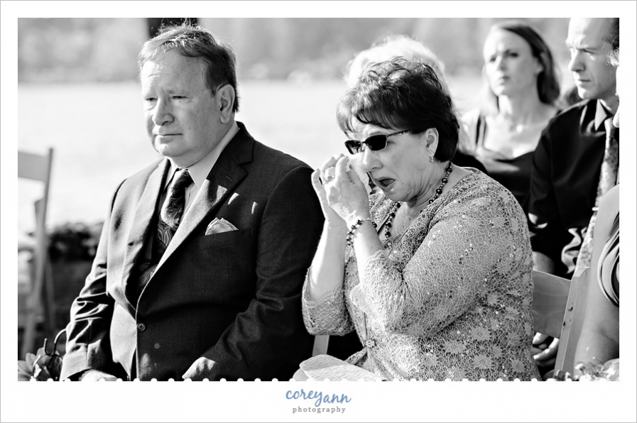 Mother crying during wedding ceremony in Akron Ohio
