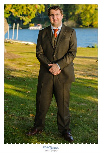 Groom in Brown Suit in Akron Ohio