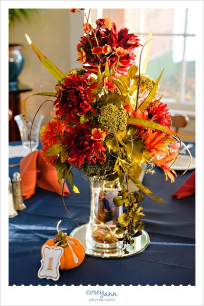 Fall themed wedding reception table at Turkeyfoot Island Club