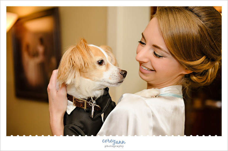 bride with dog before wedding in canfield ohio