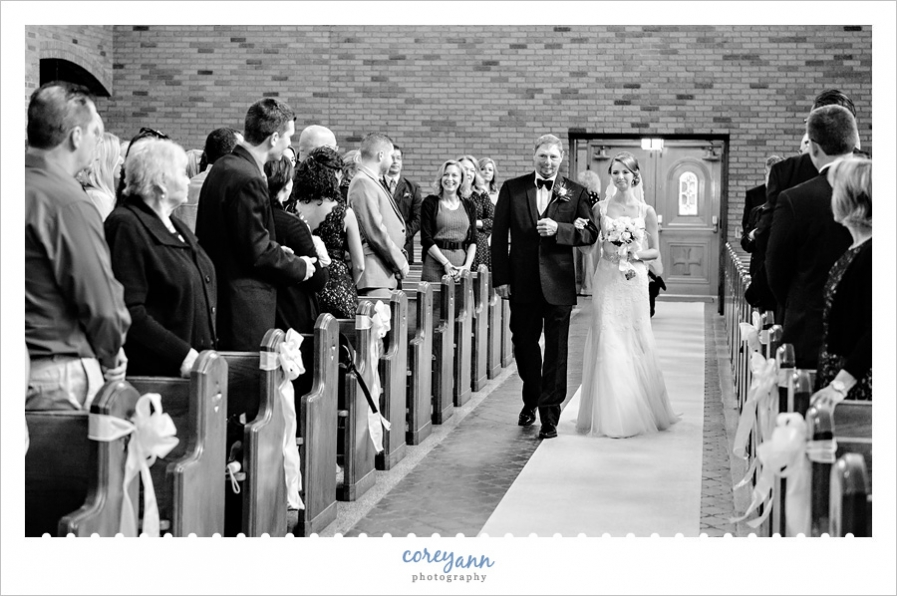 Bride and Father walking down aisle at St. Michael Church