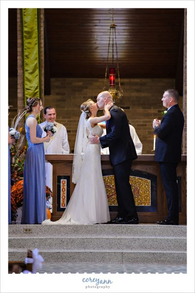 First Kiss at St Michael Church in Canfield Wedding