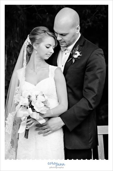 Bride and Groom black and white portrait in Youngstown