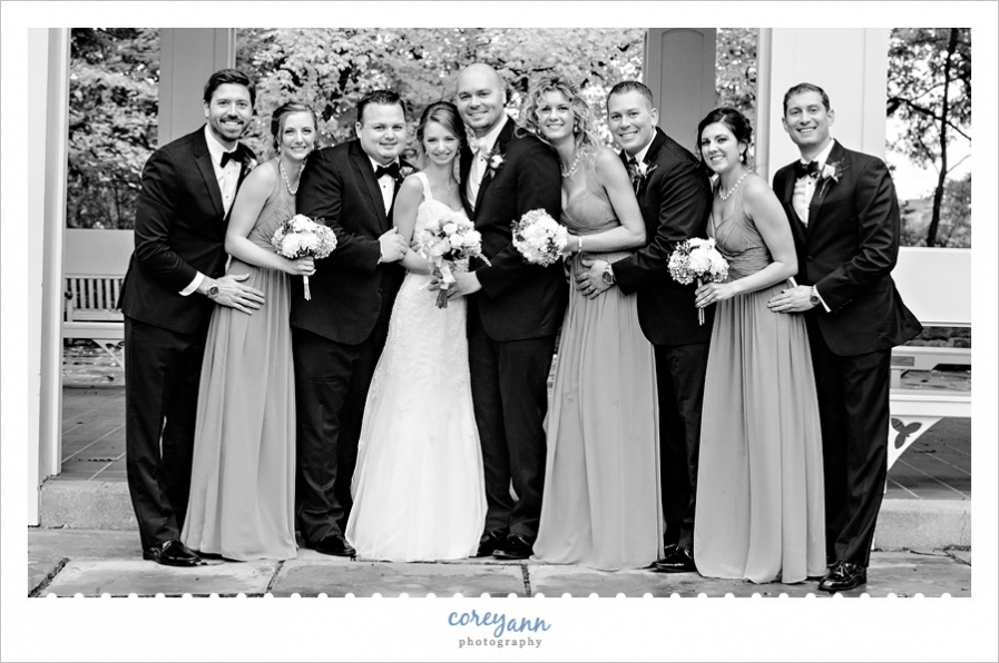 Relaxed candid bridal party portrait
