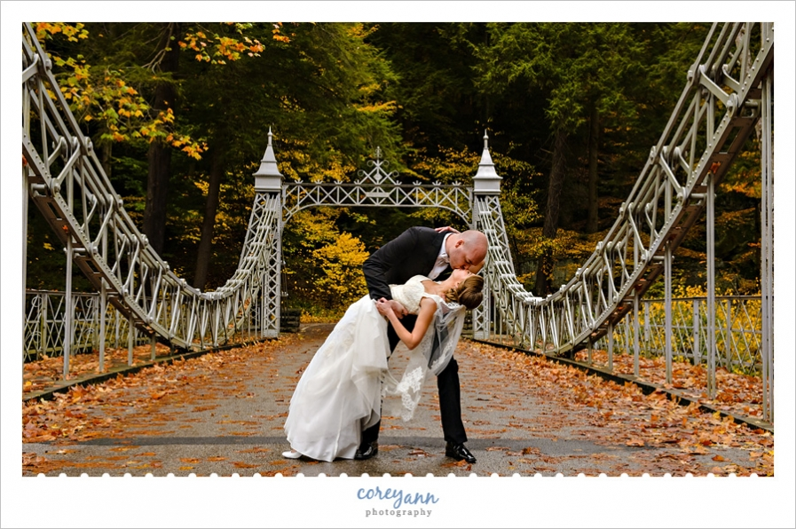 Bride and Groom dipping at Cinderella Bridge in Youngstown
