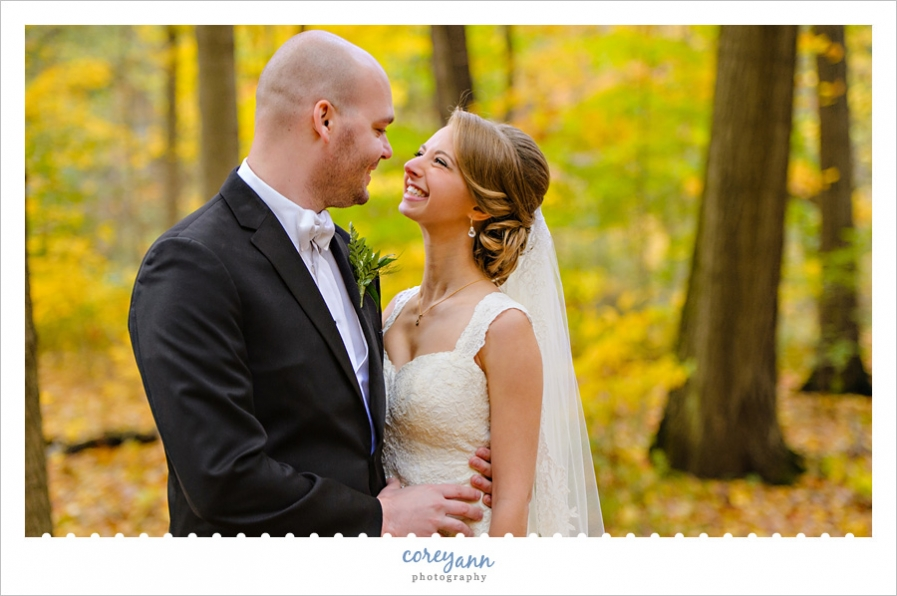 Wedding photo in October in Youngstown Ohio