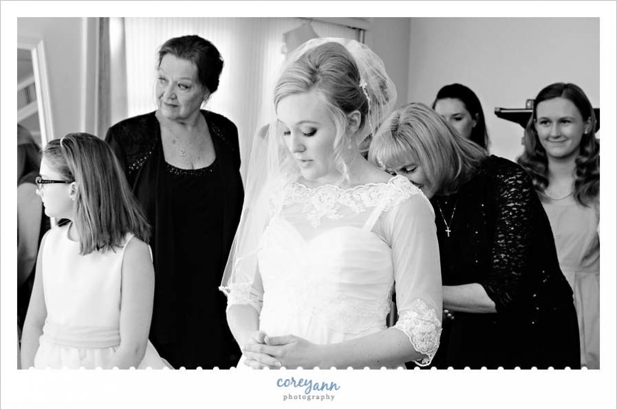 Bride before wedding at st vincent de paul